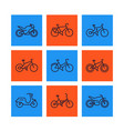 bikes icons set linear style bicycle cycling vector image