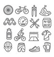 biking line icons set on white background vector image
