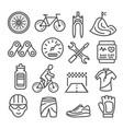 biking line icons set on white background vector image vector image