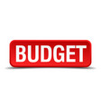budget red three-dimensional square button vector image vector image