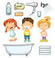 Children and bathroom set vector image vector image