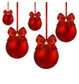 christmas balls with bow on a white vector image