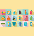 cleaner equipment icons set flat style vector image
