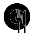 contour knife fork and plate icon vector image