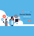 couple man woman social media icons concept online vector image vector image