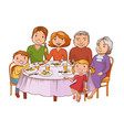 cute cartoon family dined at the table vector image