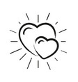 doodle love hearts pattern with sunburst vector image vector image