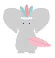 elephant with feathers hat bohemian style vector image vector image
