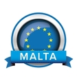 EU flag button with Malta ribbon vector image vector image