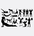 exercise fitness sport silhouette vector image