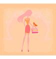 Fashion girl silhouette shopping in shoe shop vector image