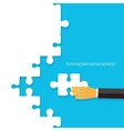 Flat background with hands and puzzles Teamwork vector image vector image