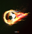 flying soccer ball on fire isolated on black vector image vector image