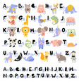 funny alphabet for young children with names vector image vector image