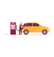 gas station worker character pouring fuel in car vector image vector image