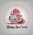 happy new year gift boxes on a sledge vector image vector image
