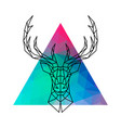 Head of a deer with horns in geometric style
