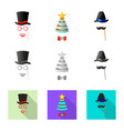 isolated object of party and birthday logo set of vector image