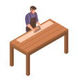man carpenter icon isometric style vector image vector image