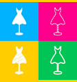 mannequin with dress sign four styles of icon on vector image vector image