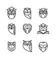 Owl outline icons collection vector image vector image