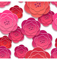 Paper rose flowers 3d pattern vector image