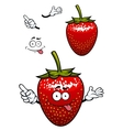 Playful smiling red strawberry fruit cartoon vector image vector image