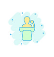 public speach icon in comic style podium vector image vector image