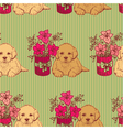 seamless pattern with dogs and flowers vector image