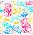 seamless pattern with gamers elements vector image vector image