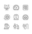 set line icons electric car vector image