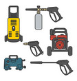 set pressure washer machine electric vector image vector image