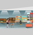 supermarket with people shopping and buying vector image vector image