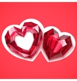 two ruby hearts angular vector image vector image
