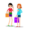 two young girls with shopping bags one girl with vector image