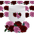 white flowers bouquet box with pink and red vector image