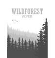 wild coniferous forest flyer background pine tree vector image vector image