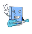 with guitar office binder mascot blank copy book vector image vector image