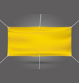 yellow mock up vinyl banner on gray background vector image