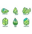 Set of green leaf logo templates vector image