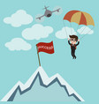 businessman parachuting to success vector image