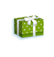 flat present gift box with white ribbon bow vector image