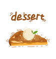 a slice of apple cake and apple vector image