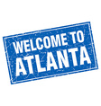 Atlanta blue square grunge welcome to stamp vector image vector image