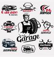 auto service and garage retro emblems and labels vector image vector image
