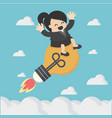 business woman floating on sky with light bulb vector image vector image