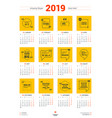 calendar poster template for 2019 year week vector image vector image