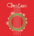 christmas guitar red background old poster vector image vector image