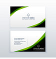 clean simple green business card design template vector image vector image