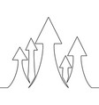 continuous one line drawing of arrow sign growth vector image